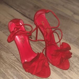 Shoes - Red Wrap around heels